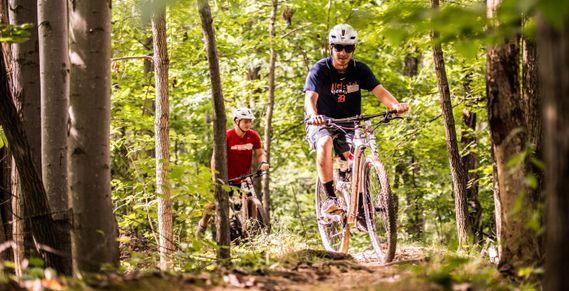 Two mountain bikers ride trails in White Park