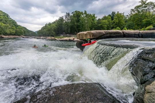 Kayaker going off Valley Falls