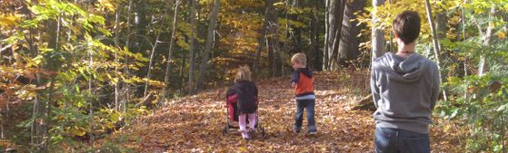 Children on trail with Fall leaves