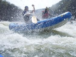 A raft on a rapid in the Cheat Canyon
