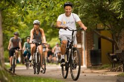 Bikes roll on the Monongahela River Rail Trail during WVU's Welcome Week