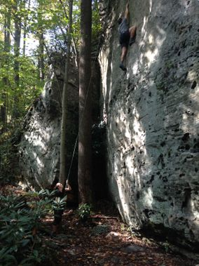 Two people climbing at Snake Hill WMA
