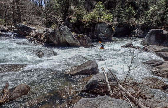 A kayaker navigates a rapid on the Buckhannon River