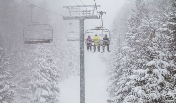 A lift moves skiers through the powder covered spruce trees