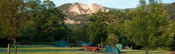 Tents and a picnic table with Seneca Rocks in the background