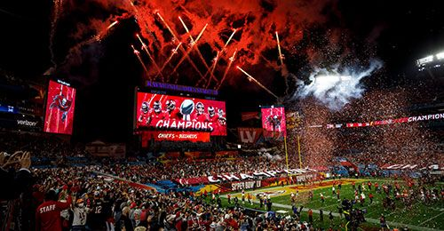 Fireworks erupt over Tampa Bay after the Buccaneers win the super bowl