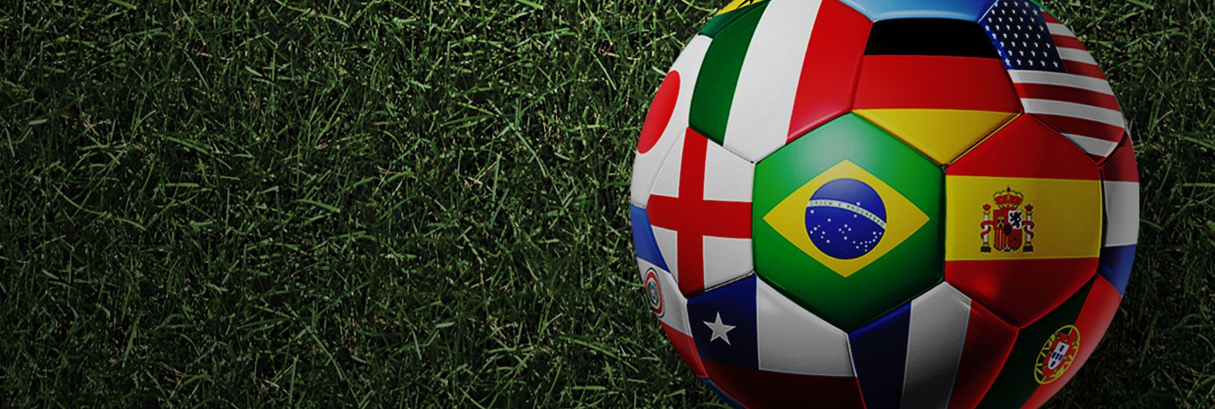 soccer ball with different nations as tiles