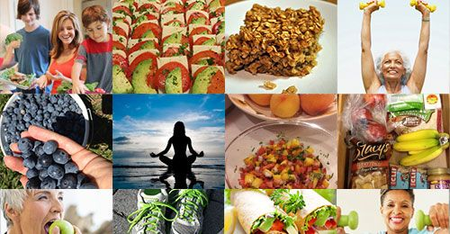 A collage of healthy food and healthy behaviors