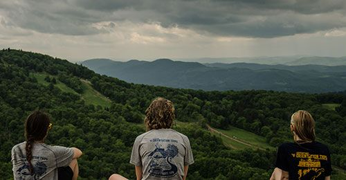Students taking in the WV landscape