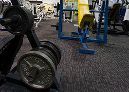 Closeup of weights in a weightroom