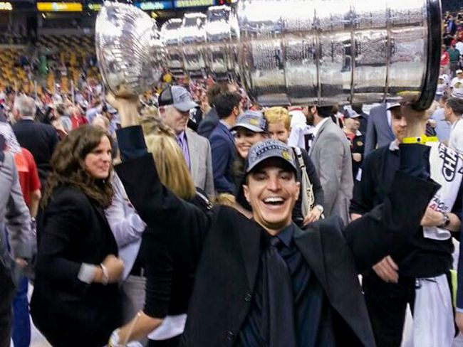 Ian Gentile holding the Stanley Cup