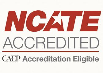 Accreditation badge declaring: NCATE Accredited, CAEP Accreditation Eligible