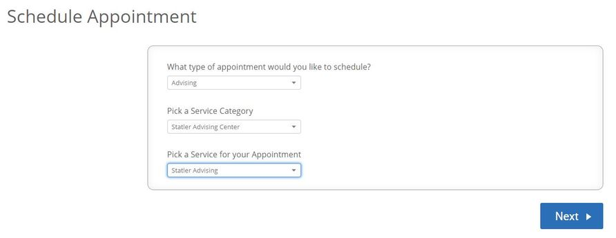 "Screenshot of the ""Schedule Appointment"" options screen from a student's Navigate account."