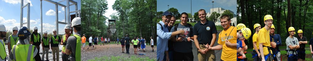 An assortment of images showing students in the AcES program, involved in different outdoor activities