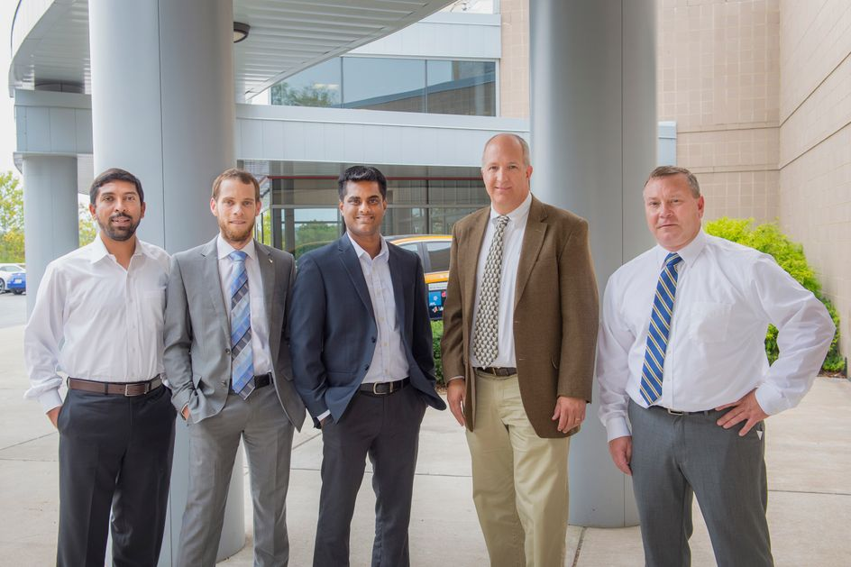 Hemanth Kappanna, Marc Becsh, Arvind Thiruvengadam, Greg Thompson and Dan Carder from the Center for Alternative Fuels, Engines and Emissions are the marshals for the 2017 Homecoming Parade Oct. 13.