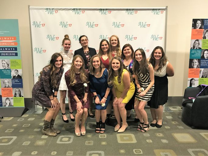 Members from West Virginia University Section of the Society of Women Engineers pose for a photo at the regional conference.