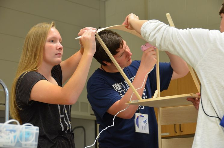 A photo of students at Engineering Challenge Camp.