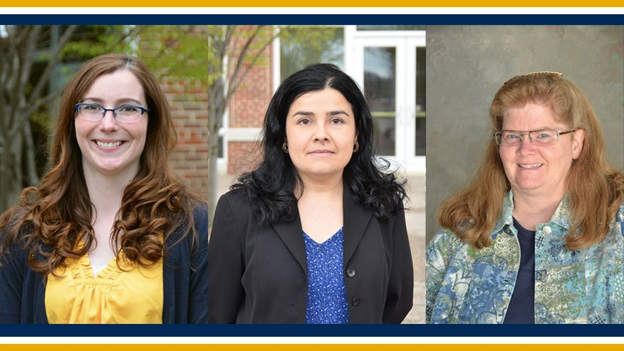 A photo combining an image of freshman engineering faculty members Melissa Morris, Lizzie Santiago, and Robin Hensel