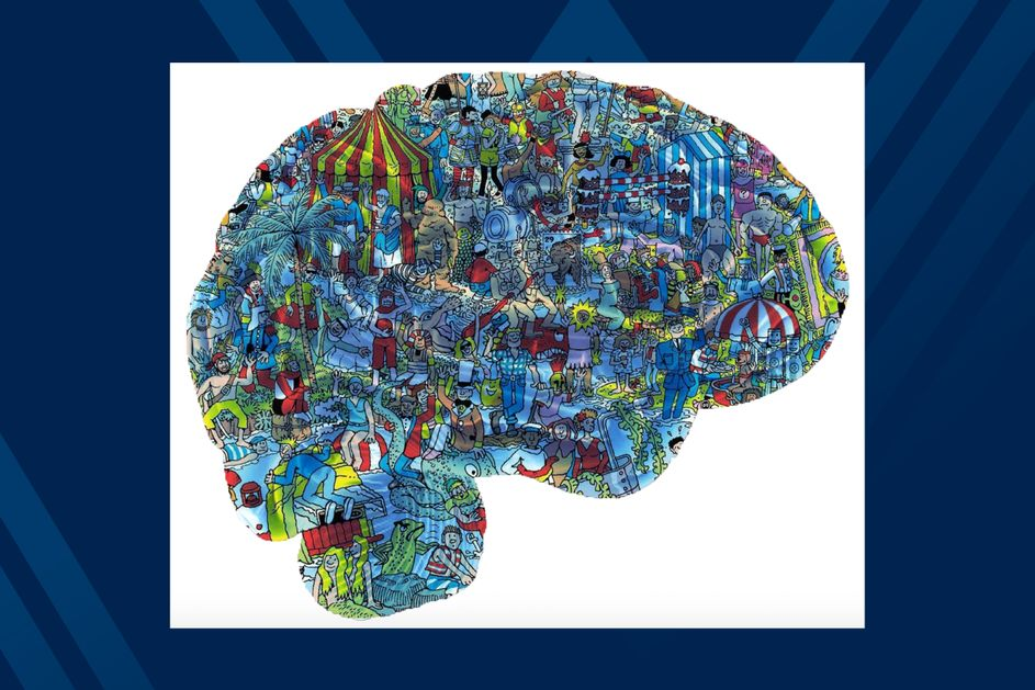 "Illustration of brain with popular ""where's Waldo"" artwork inside of the brain."