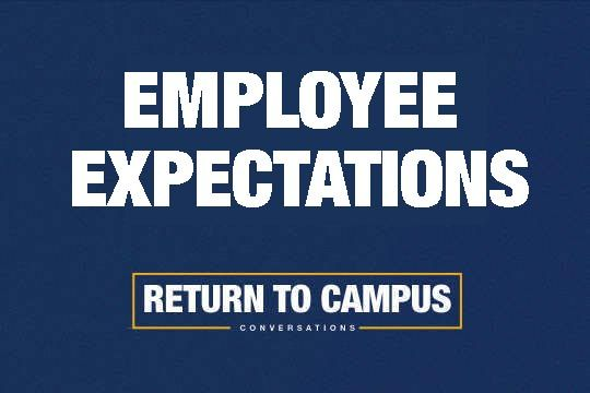 Gold and blue graphic with the words Employee Expectations, Return to Campus.