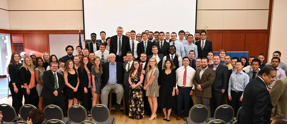 Students and faculty members with Governor Jim Justice following the 2019 Poundstone Lecture
