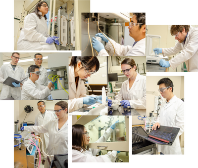 Collage of John Hu's students performing research