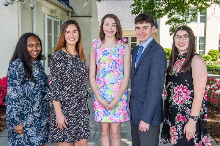 WVU's 2019 Foundation Scholars: Marleah Knights, Daisy Levine, Piper Cook, Michael DiBacco and Lillian Bischof.