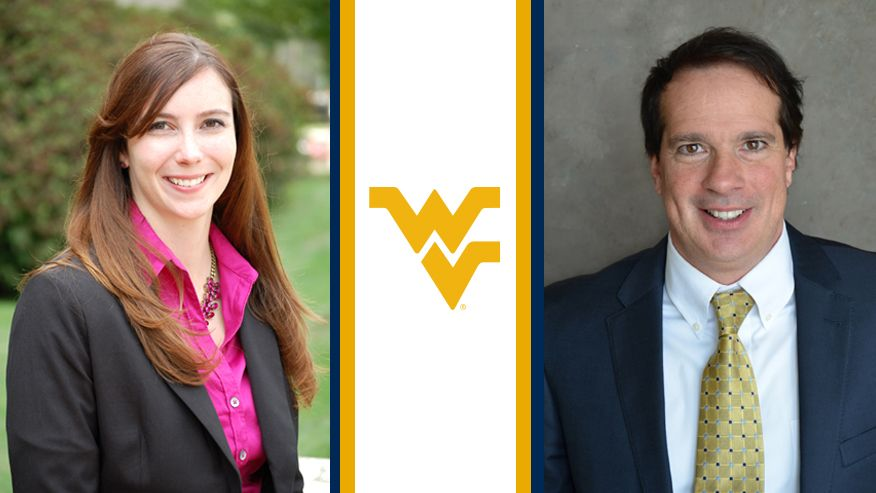 A combined portrait image of Melissa Morris and David Martinelli separated by the Flying WV