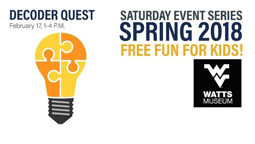 Decoder Quest - February 17, 1-4PM, Saturday Event Series Spring 2018. Free Fun for Kids! Watts Museum Logo