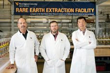 posed photo of Ziemkiewicz, Vass and Liu at the WVU Rare Earth Extraction Facility