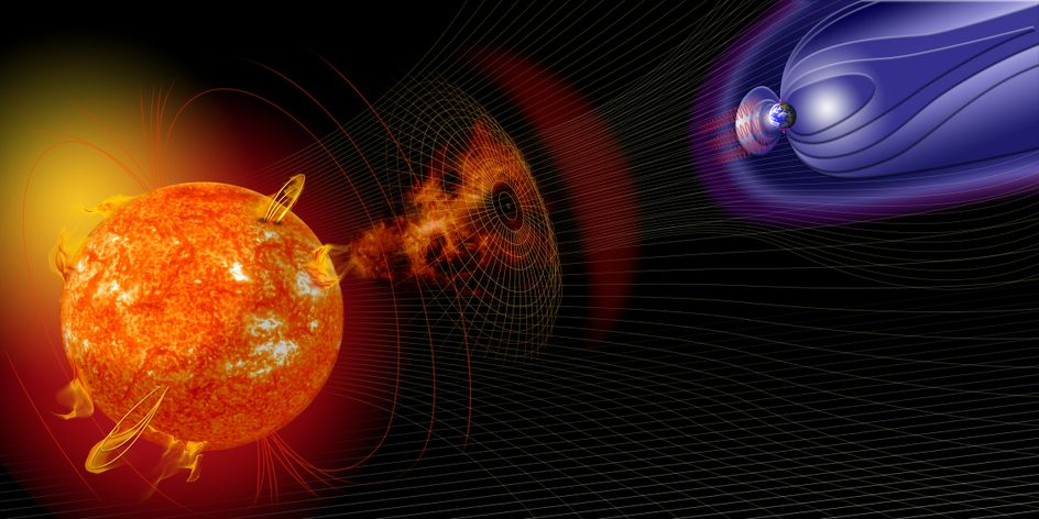 artist's illustration of space weather