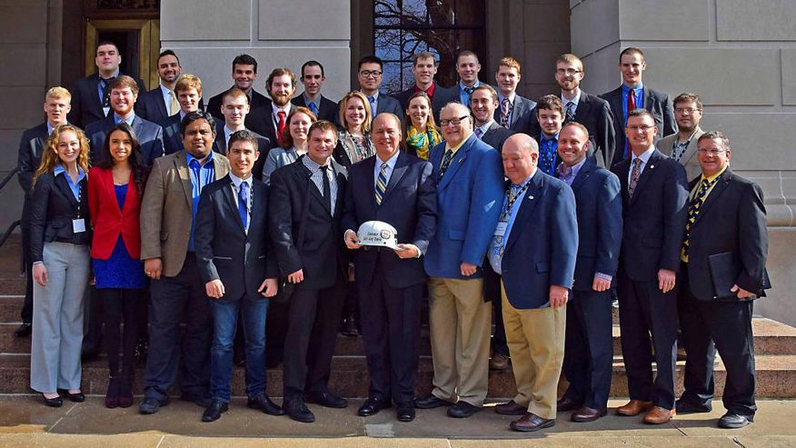 WVU's Society for Mining, Metallurgy and Exploration chapter with West Virginia Governor Earl Ray Tomblin.