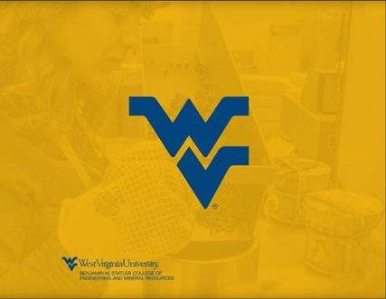 Yellow background with blue flying WV in center