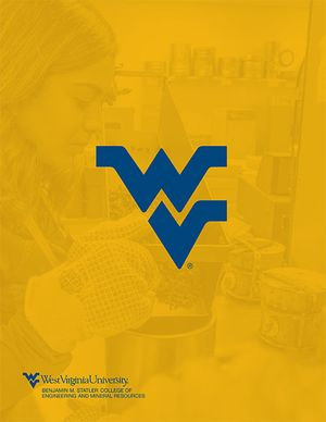Yellow cover of viewbook with a female student working in a concrete lab.