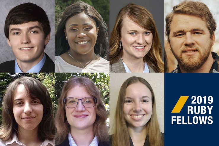 Seven students pursuing doctoral degrees at West Virginia University are receiving funding through the Ruby Scholars Graduate Fellows Program. Lauryn Alexander, Heather Baldwin, Elaine Christman, John Hansen, Emily Hughes, Alyssa Stonebraker and Nicholas