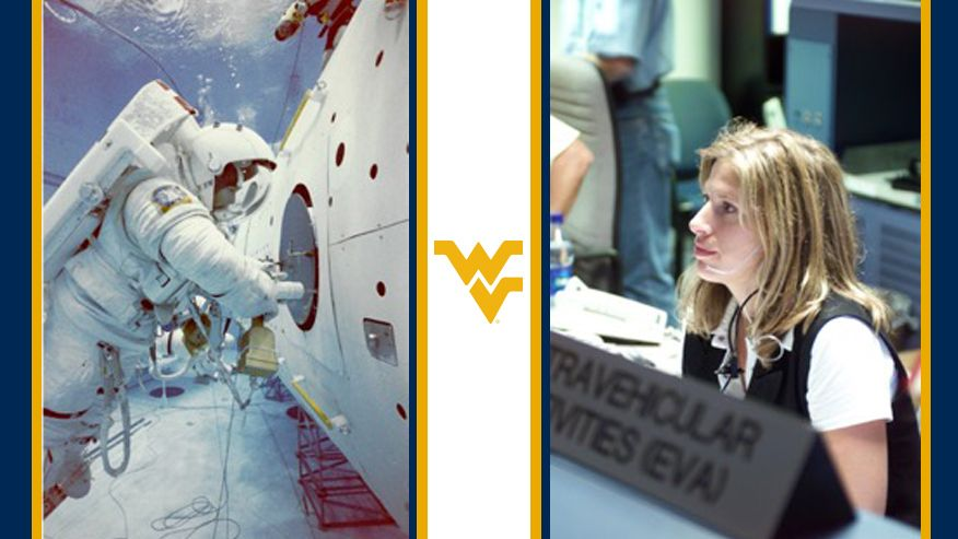 A split image depicting Kerri Knotts in her space suit working on a shuttle above Earth's Atmosphere and the other showing her with a headset at ground control on a separate occasion.