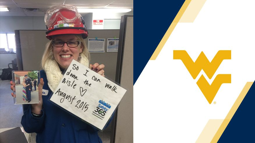 "An image of Alexis Claassen in safety gear showing a sign of why industrial safety is important to her. It reads, ""So I can walk down the isle August 2015."""
