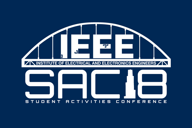 A photo of the t-shirt design from IEEE. Navy t-shirt with white bridge. IEEE Institute of Electrical and Electronics Engineers SAC18 Student Activities Conference