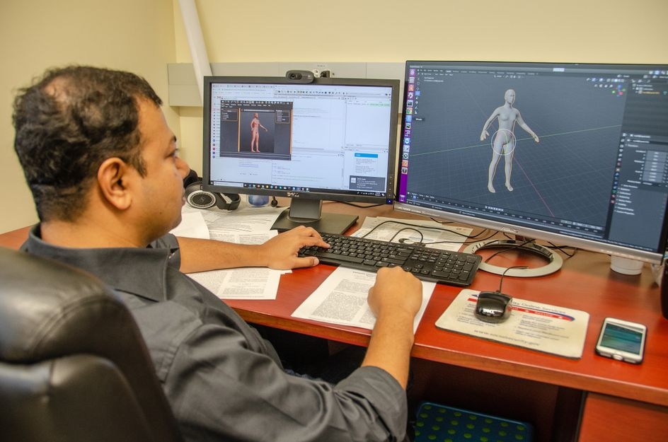 """Syed Ashiqur Rahman, a graduate student in Adjeroh's research lab, analyzes human 3D models using deep learning for health profiling."