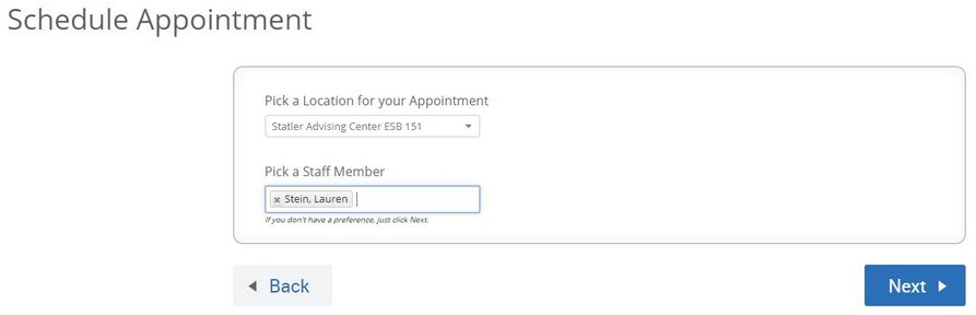 "Screenshot of the ""Schedule Appointment"" options for selecting the advisor to meet with."