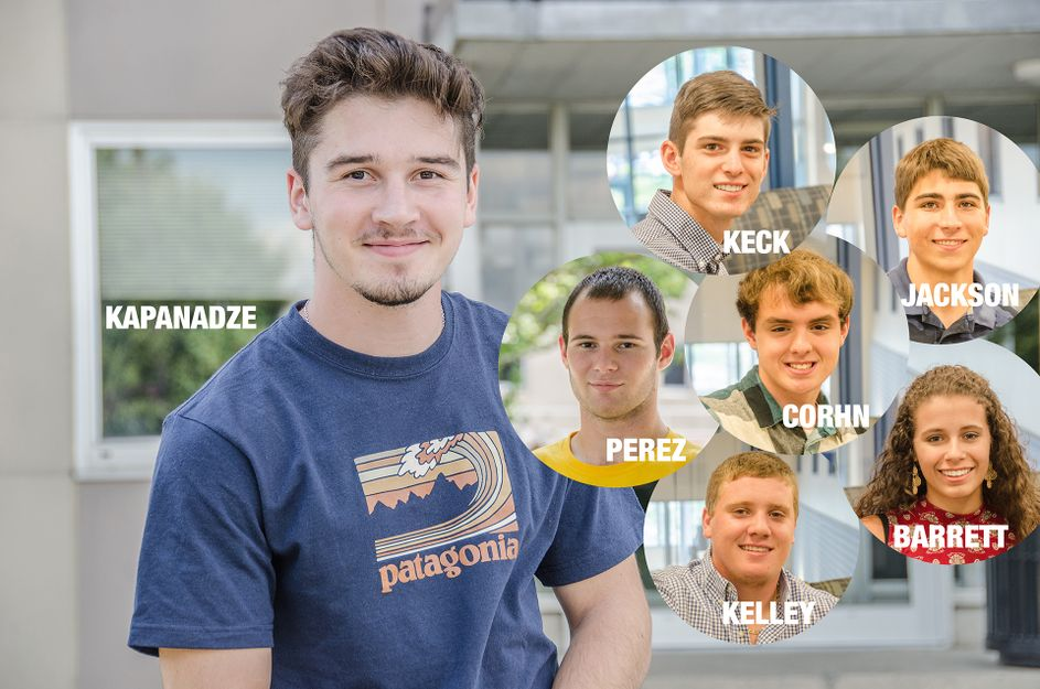 Seven students earned scholarships through WVU's Academy of Engineering Success - Kapanadze, Keck, Jackson, Corhn, Perez, Kelley, Barrett