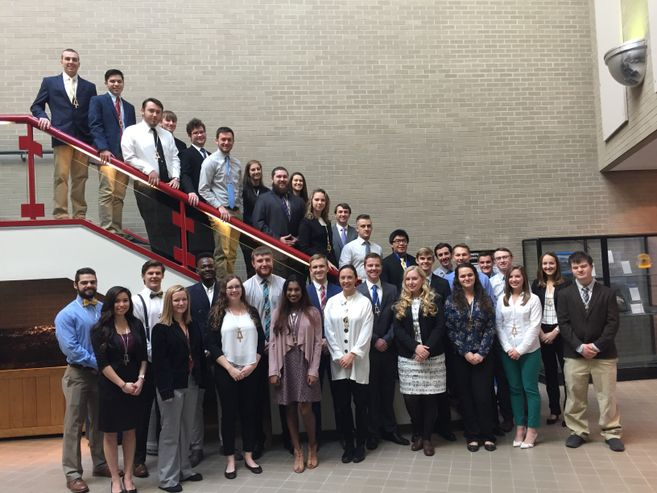 A picture of Tau Beta Pi inductees.
