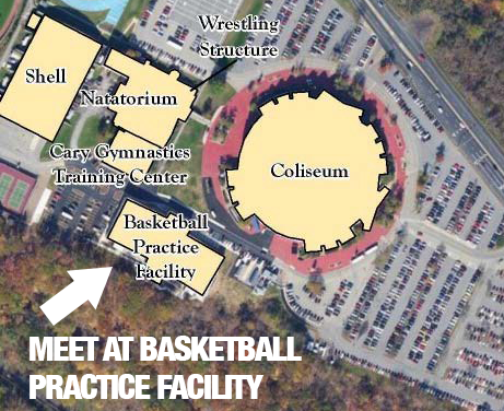 Map of Evansdale campus showing Coliseum and that students need to meet at basketball practice facility