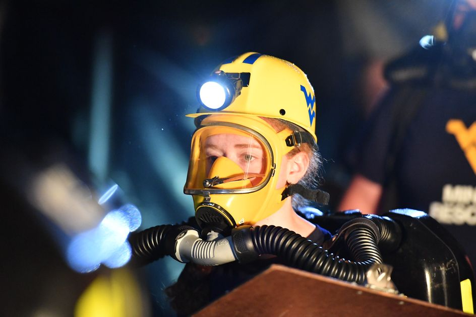 Student competing in the mine rescue competition.