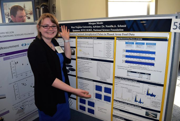 WVU engineering student Morgan Menke poses with her poster presentation at the Posters on the Hill event in Washington, D.C.