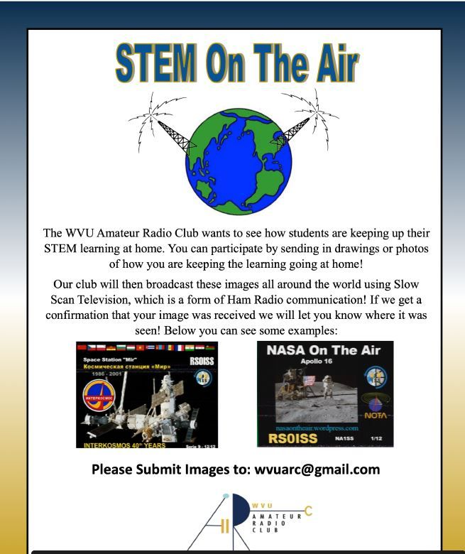 STEM On the Air Virtual Outreach Opportunity. All information is in above text.