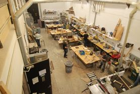 overhead view of sculpture shop