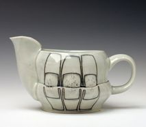 white bent teapot
