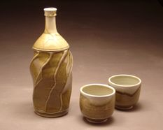 Sake bottle with two cups