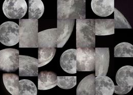 collage of black and white photos of the moon